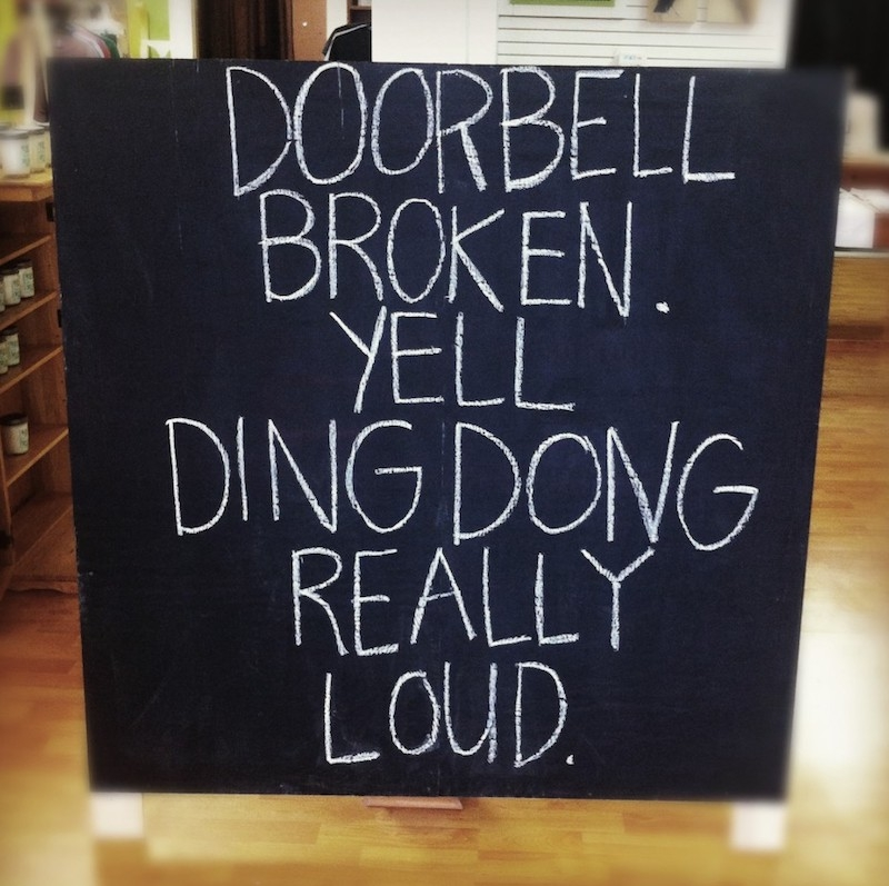 Ding Dong Loudly Chalkboard Sign