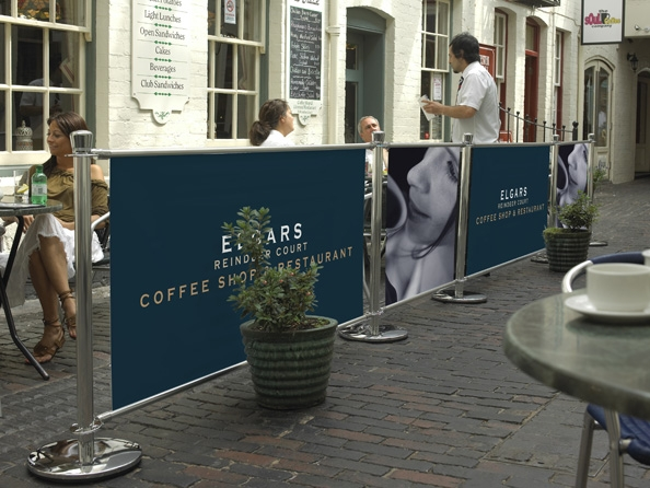 Create outside dining areas with cafe barriers