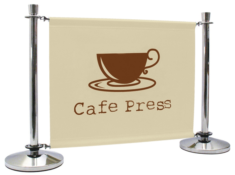Cafe Barrier Stand with Printed Graphic Banner
