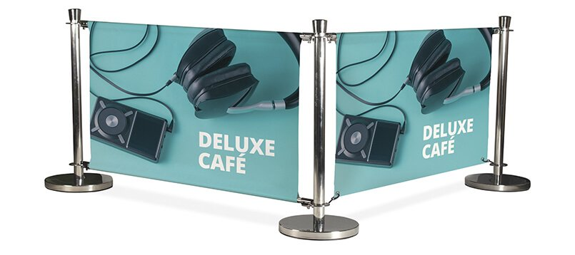 Cafe and Restaurant Banner Stands and Barriers Systems - example pic