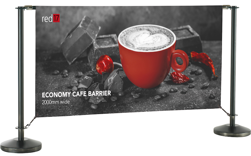 Black Economy Cafe Barriers Stand 2000mm wide pic