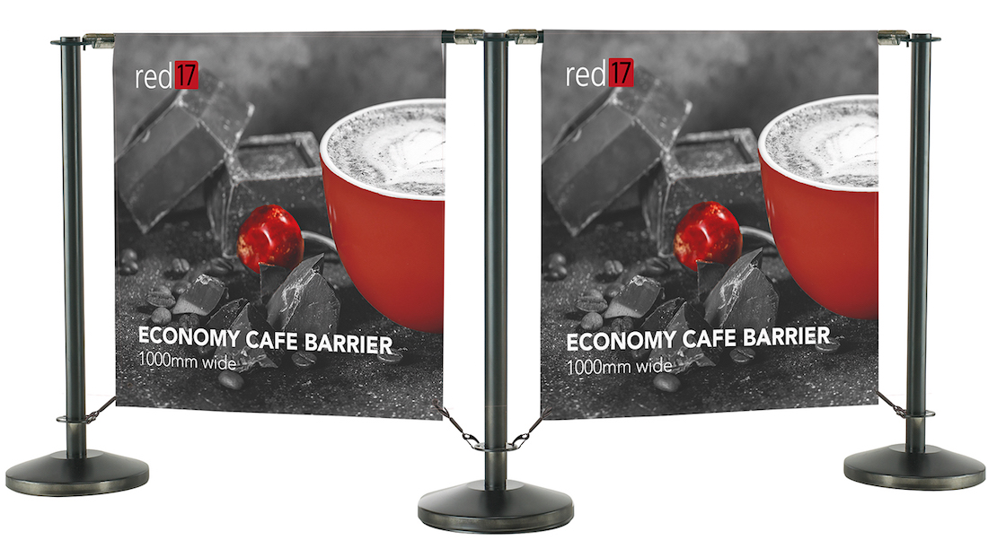 Red17 Black Economy Cafe Barriers - example of 2 cafe banner stands linked