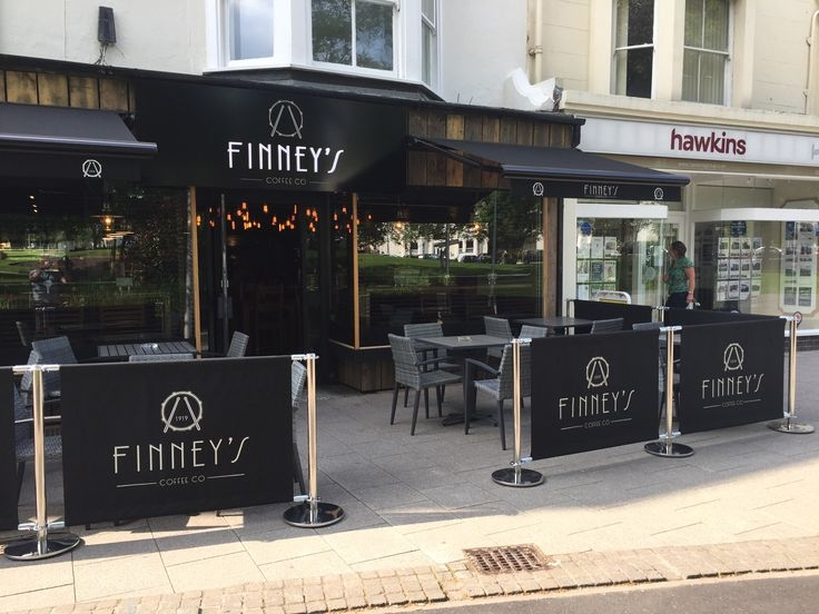 Finneys Cafe with Cafe barrier Banners Stands