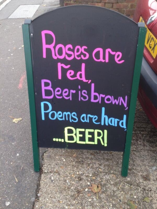 chalkboard sign with Poem