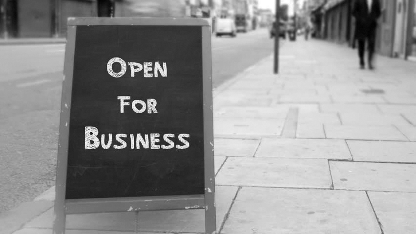 Chalkboard Sign saying Open For Business - Black and White pic
