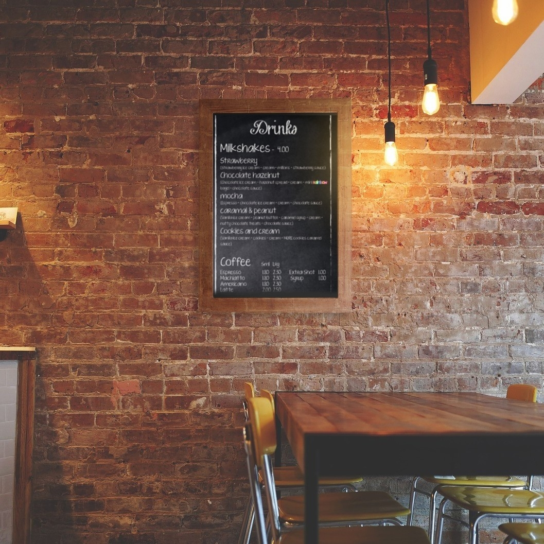 Wall Mounted Framed Chalkboard sign - in pub