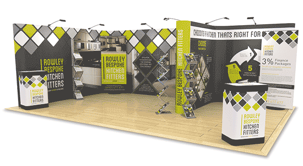 tradeshow stand display example large area with popup stands