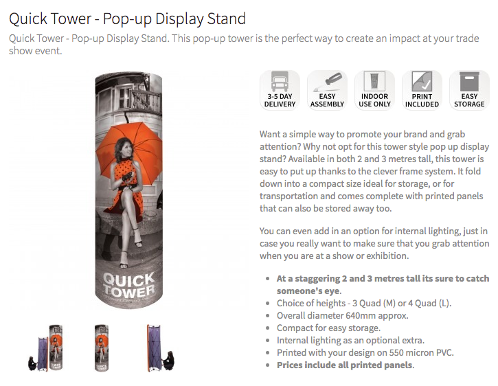 Quick Tower Pop-up Stand