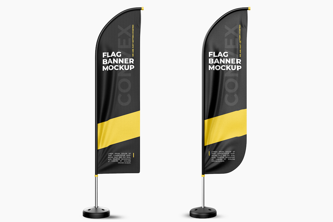 Mock Up Example of printed advertising portable flag poles