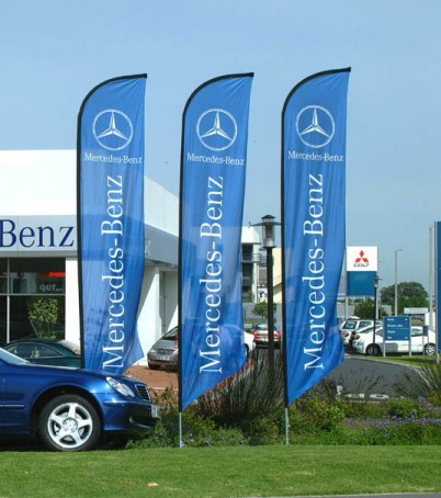Mercedes Forecourt flags