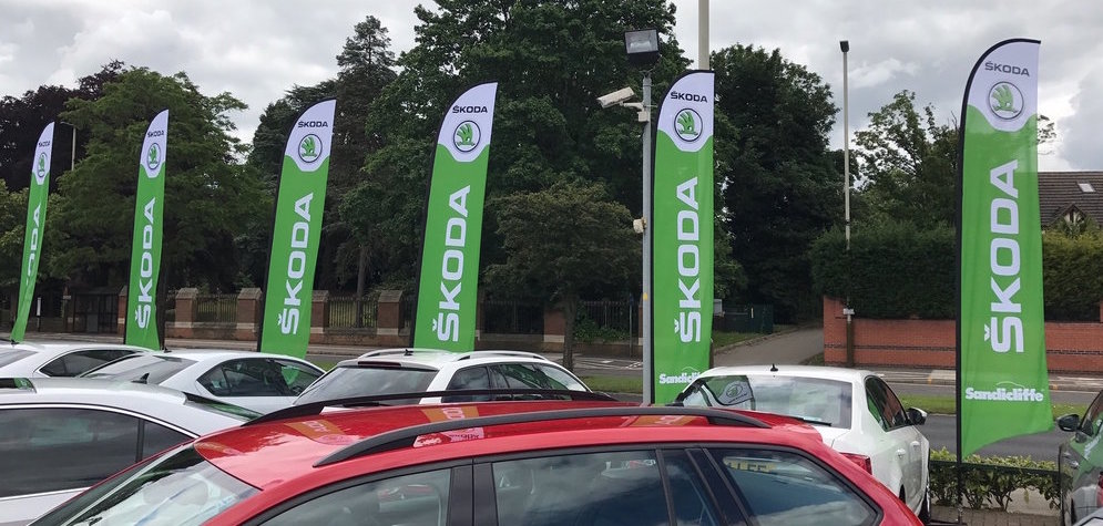 Skoda car lot feather flags example