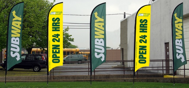 Subway restaurants promotional flag banners example