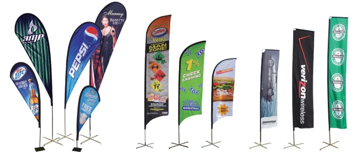 Various examples of promotional flags and flag banners