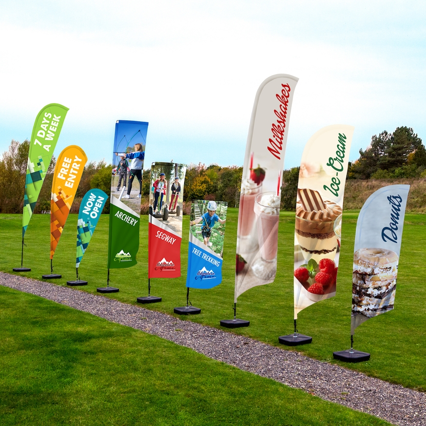 A row of Various Flag Banners and Promotional Flag types