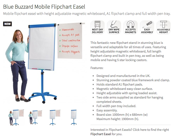 Buzzard Mobile Flip Chart & Whiteboard Easel