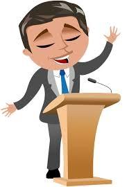 Cartoon Speaking at Lectern