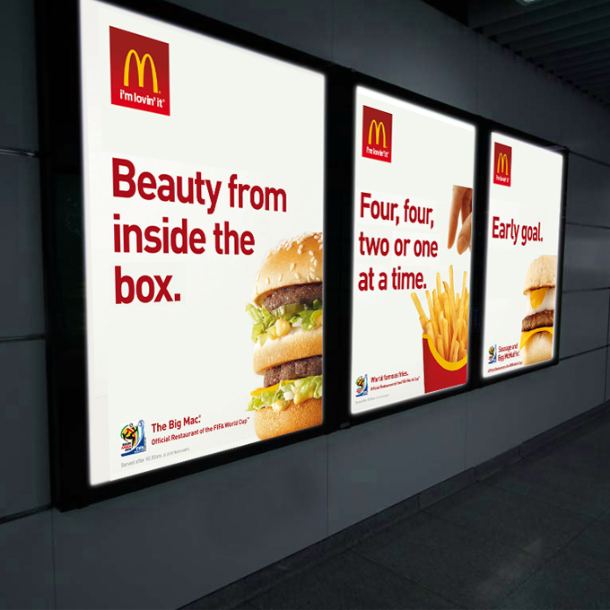 McDonalds Light Box Poster Displays - example product pic