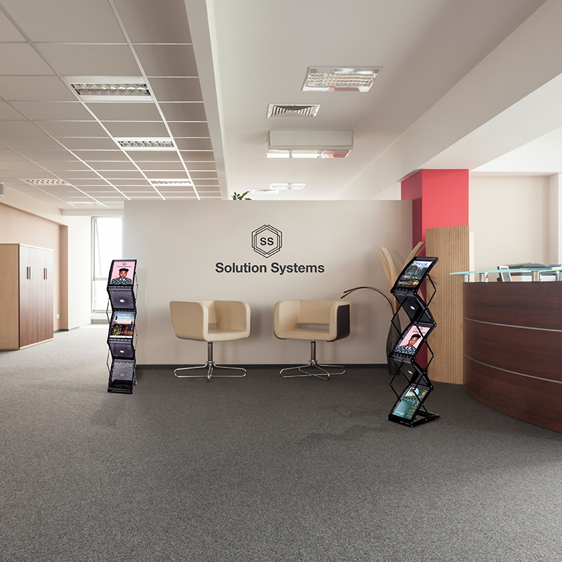 Business reception area with brochure stands