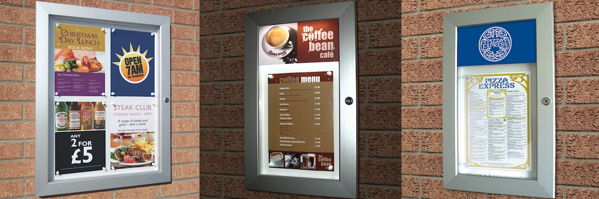 3 examples of menu display cases