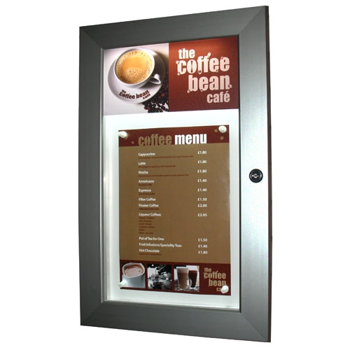 Illuminated Menu Case example with Menu and Header Panel Logo