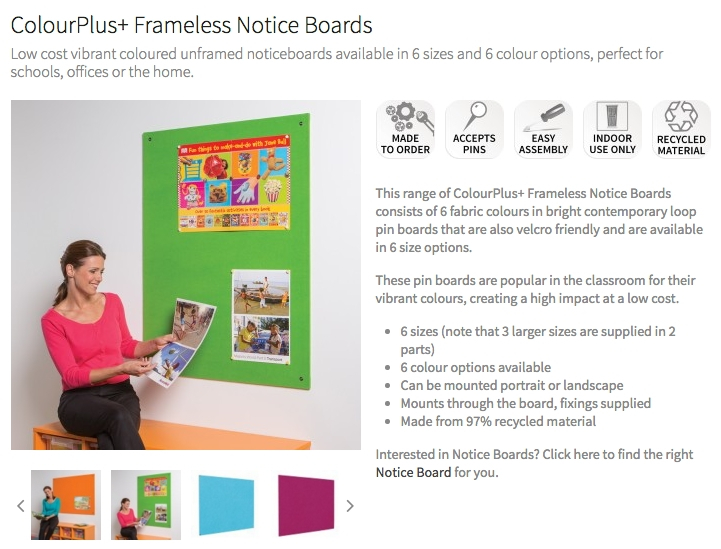 ColourPlus Notice Boards Unframed