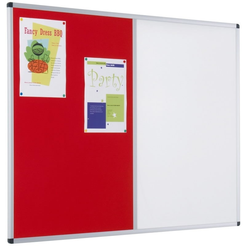 Aluminium framed felt and drywipe dual combination notice board
