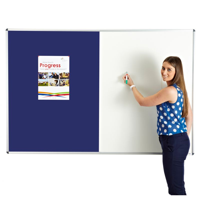 teacher with a combination board - whiteboard and notice board