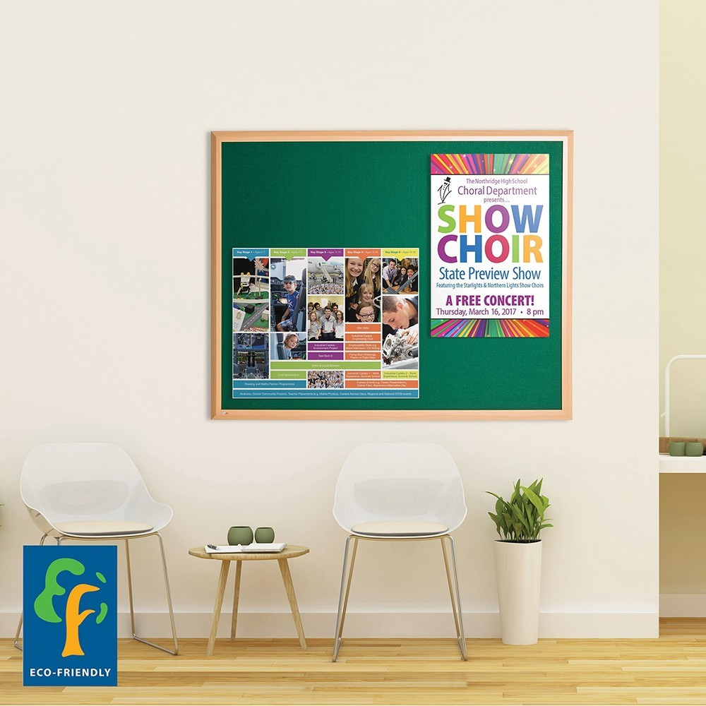 Eco-Premier Notice Board in Office on Wall - Example Product Pic