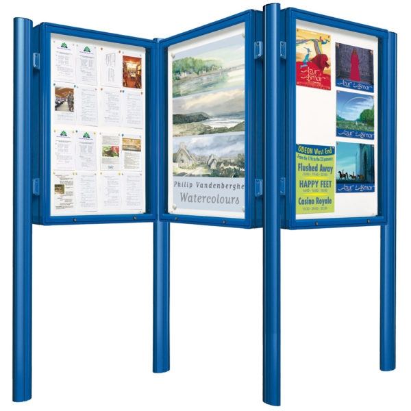 3 in 1 Outdoor Notice Board Post Mounted in Blue