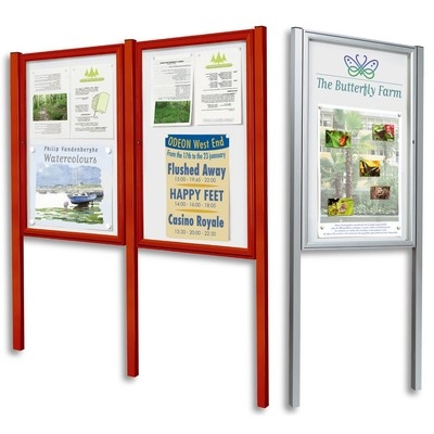 example picture of freestanding outdoor notice board which could be used by restaurants to display menus