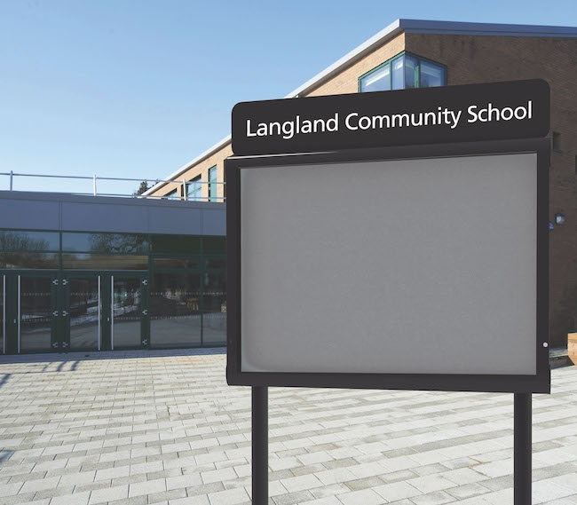 Post Mounted Outdoor Notice Board for Schools