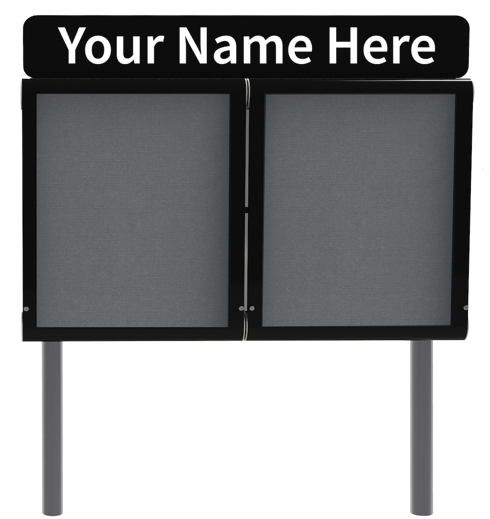 Weather-Shield Outdoor Notice Board with Header Sign Board