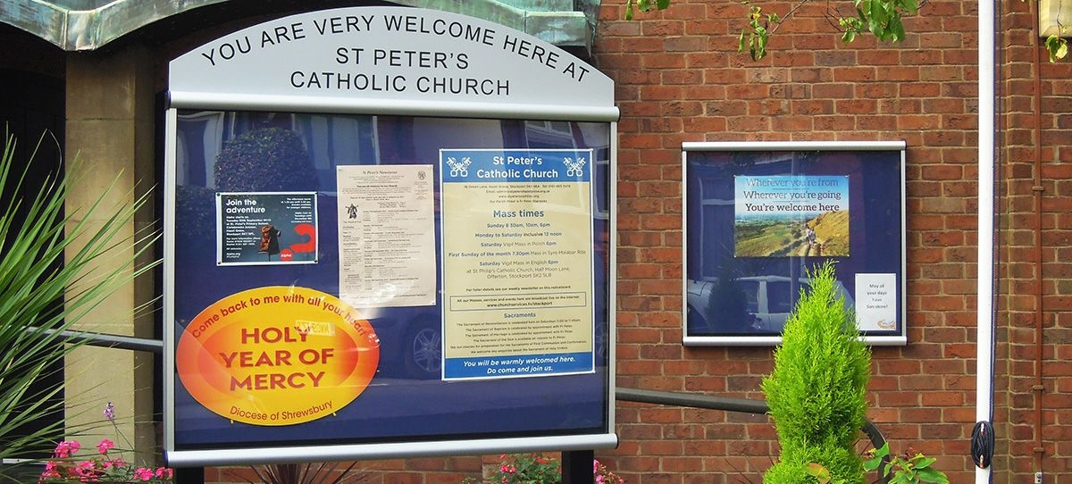 2 notice boards for church entrance