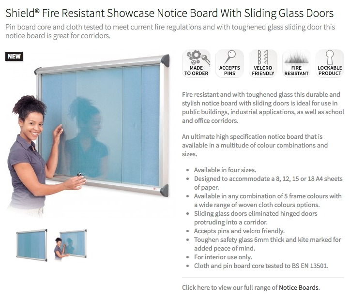 Shield Fire Resistant Showcase Notice Board With Sliding Glass Doors