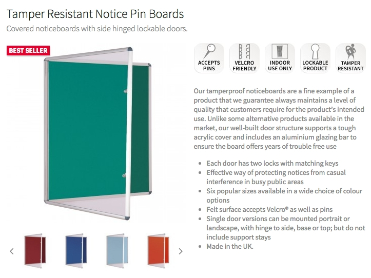 InfoGraphic Product Page Information on Tamperproof Notice Boards