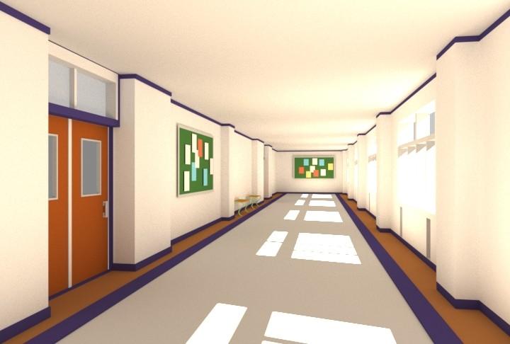 School Corridor with Notice Boards