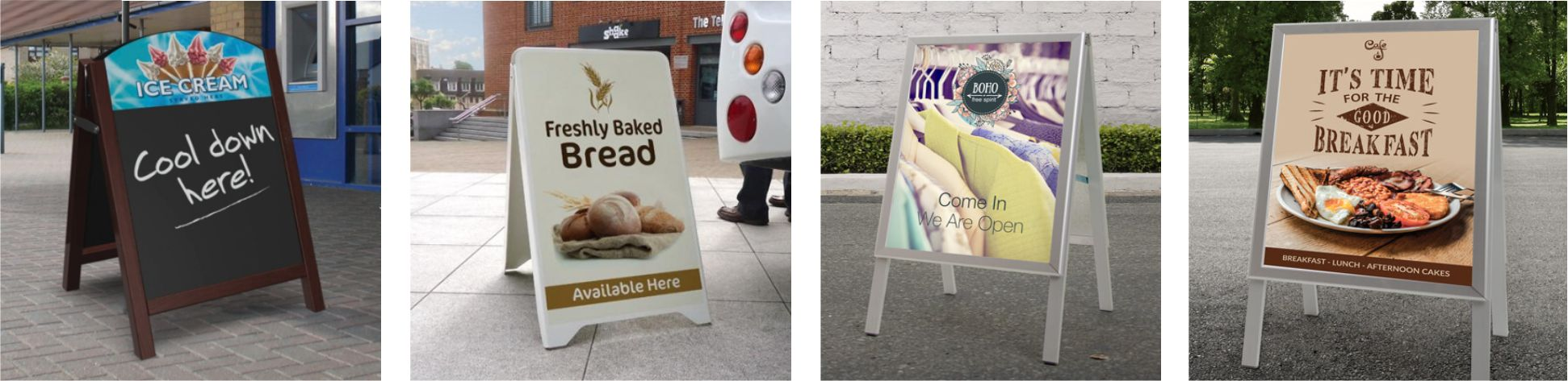 4 examples of A-Board Signs in situ