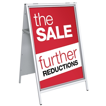 Bright Red Sale Poster in an A-Board Sign