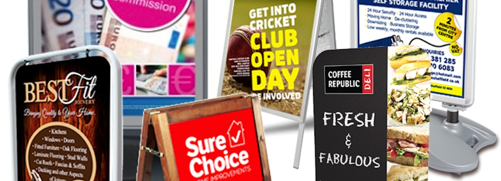 Montage of red17s Pavement Sign Products - main pic