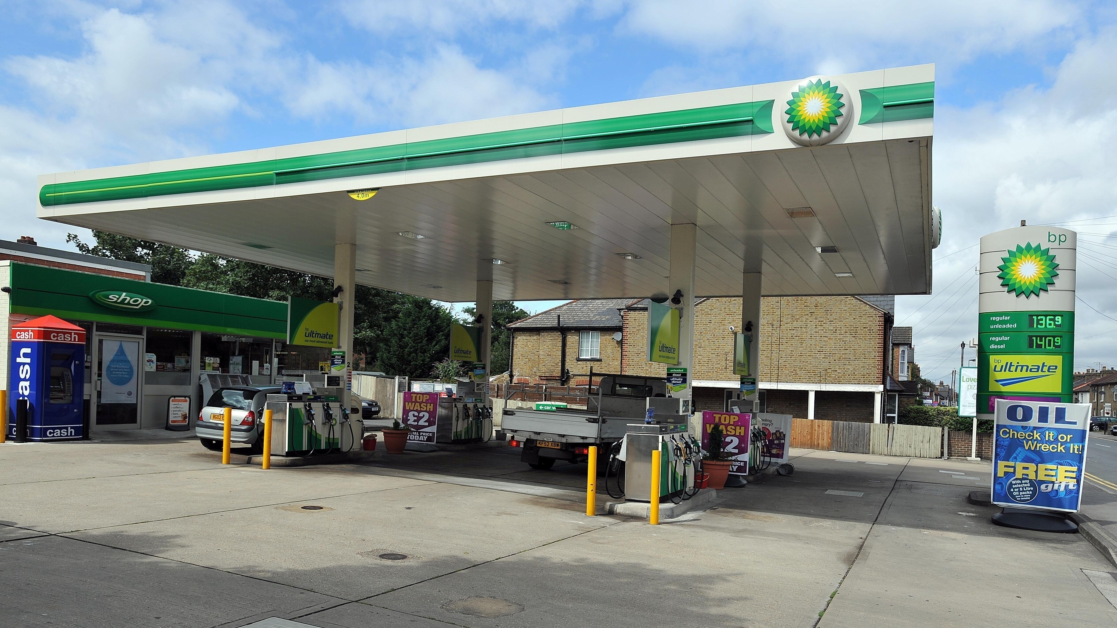 BP petrol Station with Sign Board
