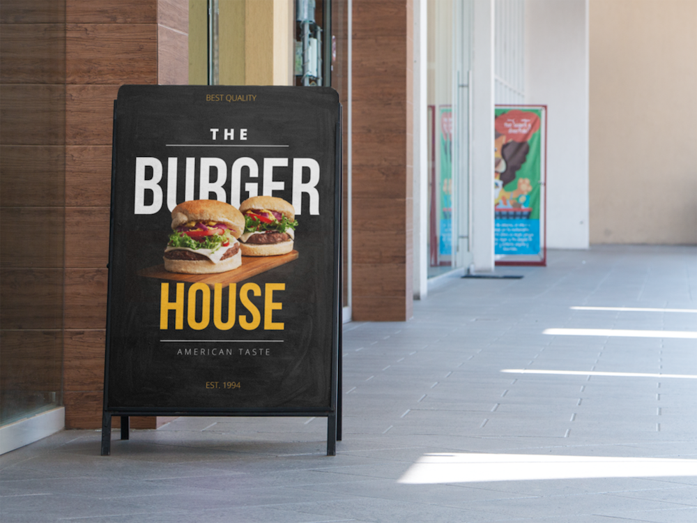 A-Board Sign advertising - Burger Business Open