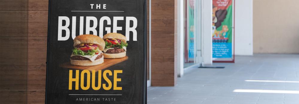Burger sign - demonstrator strong colour branding