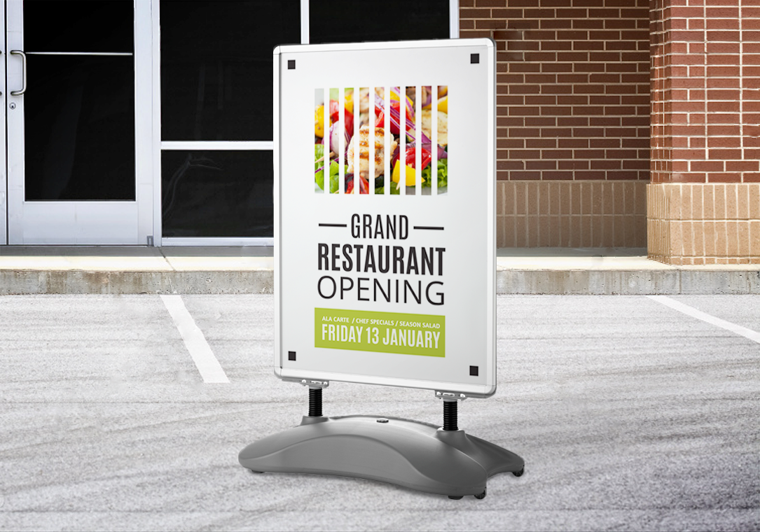 The Grand Restaurant - opening soon pavement sign