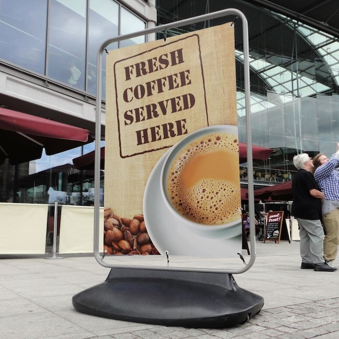 Coffee Banner advert on Forecourt Banner Sign