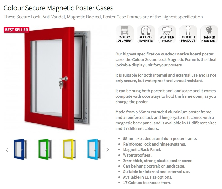 Anti Vandal Secure Poster Case