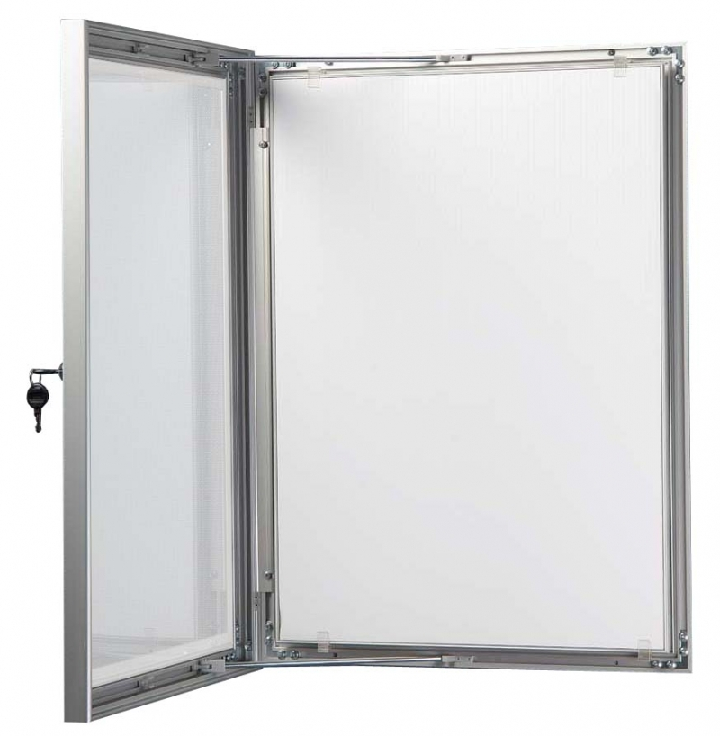 empty open lockable poster case