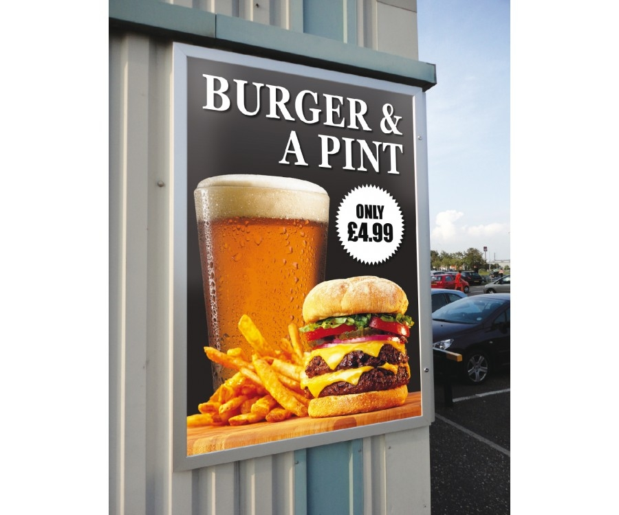 Burger and Pint - example poster case with menu poster advertisement