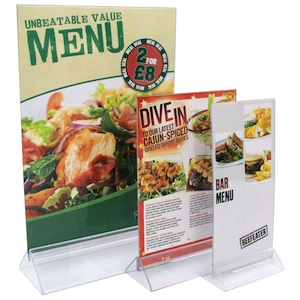 Clear Acrylic Menu and Sign Holder