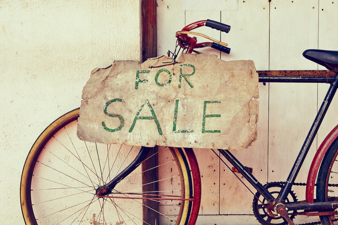 For Sale Sign on a bike
