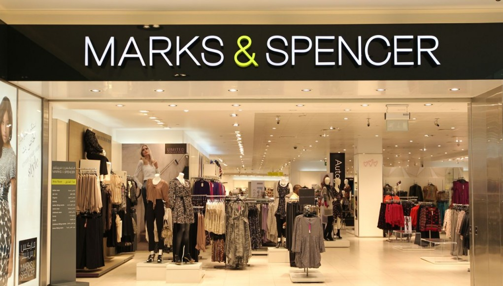 Marks and Spencers shop front example of powerful black and white logo